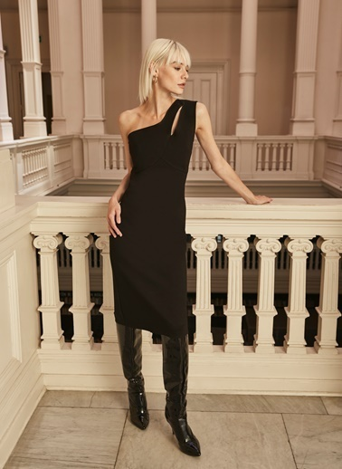 People By Fabrika Tek Askılı Dar Elbise Siyah